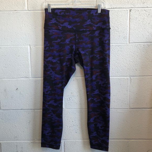 lululemon athletica Pants - Lululemon blue, black & plum hi waist crops sz 10